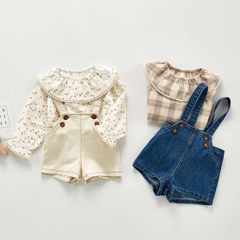 Autumn New Baby Overalls Boys Girls Denim Overalls Kids Jumpsuit Korean Fashion Children Denim Shorts