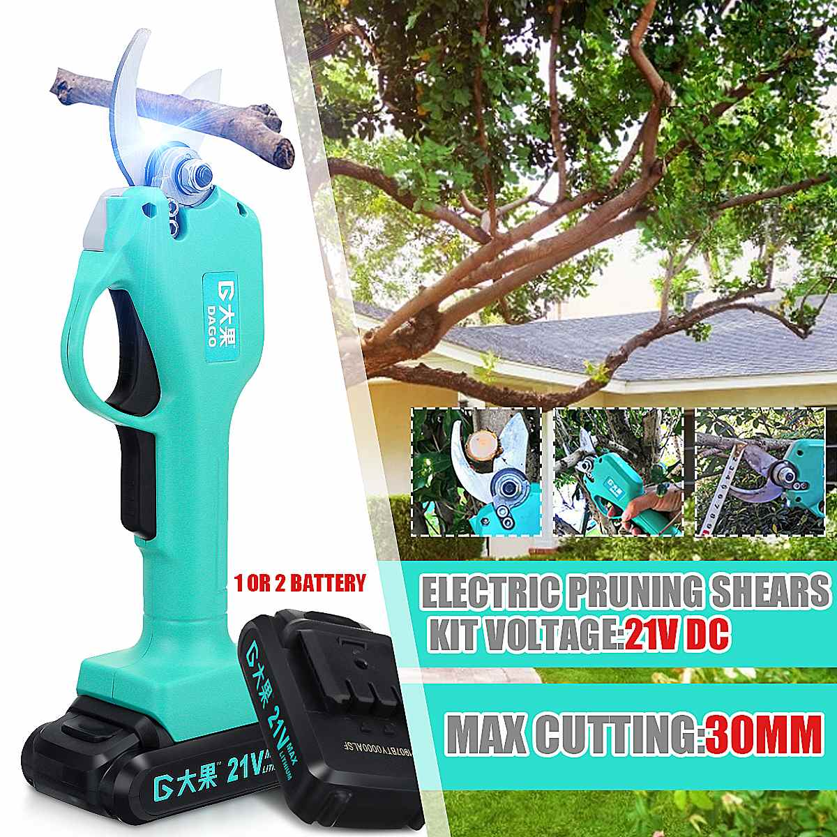 900W Cordless Pruner Electric Pruning Shear with 1/2 Lithium-ion Battery Efficient Fruit Tree Bonsai Pruning Branches Cutter