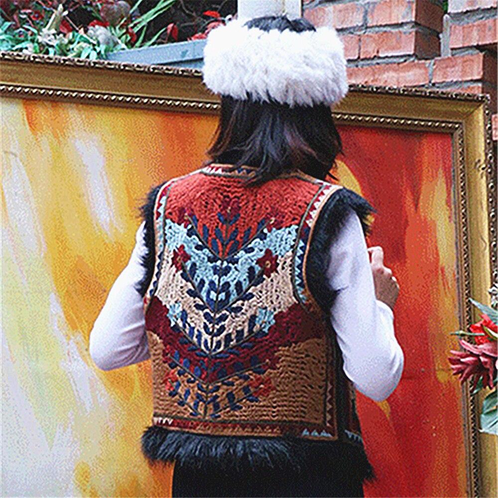 Makuluya الأفغانية شيك إيندي الحديثة الجديدة المرأة قصيرة النمط الشعبي سترة الإناث الرجعية المطرزة الصوف أكمام خمر موضة