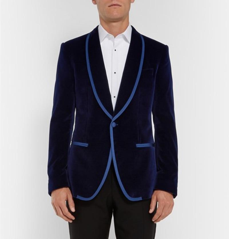 Stylish Design One Button Navy Velvet Groom Tuxedos Shawl Lapel Groomsmen Mens Wedding Suits Blazers (Jacket+Pants+Tie) 08