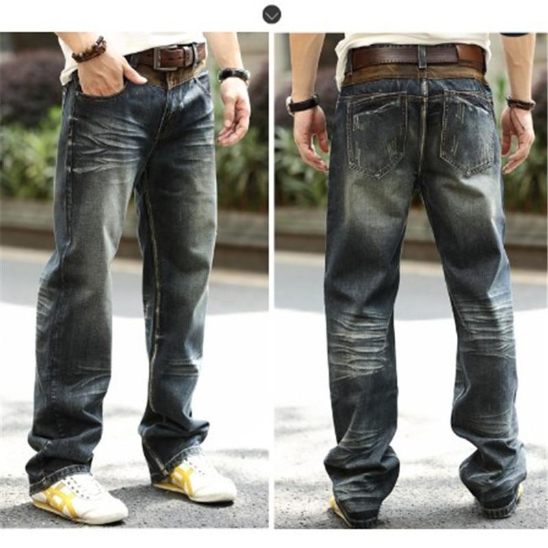 Мужские джинсы в стиле хип-хоп, винтажные прямые джинсы большого размера на осень и зиму, Wt1359