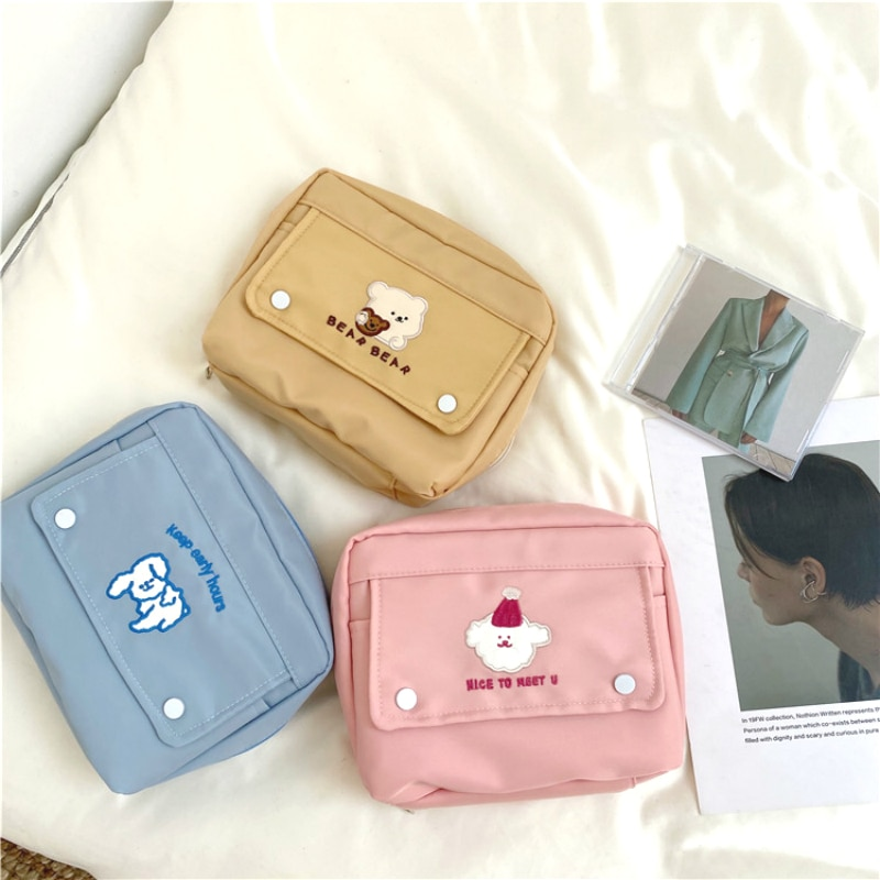 explosive pencil case pencil case portable cosmetic bag large capacity pencil case student gift bag Cute Large Capacity Cosmetic Bag Travel Portable Wash Bag Girls Bear Storage Bag Student Stationery Pouch Pencil Organizer Case