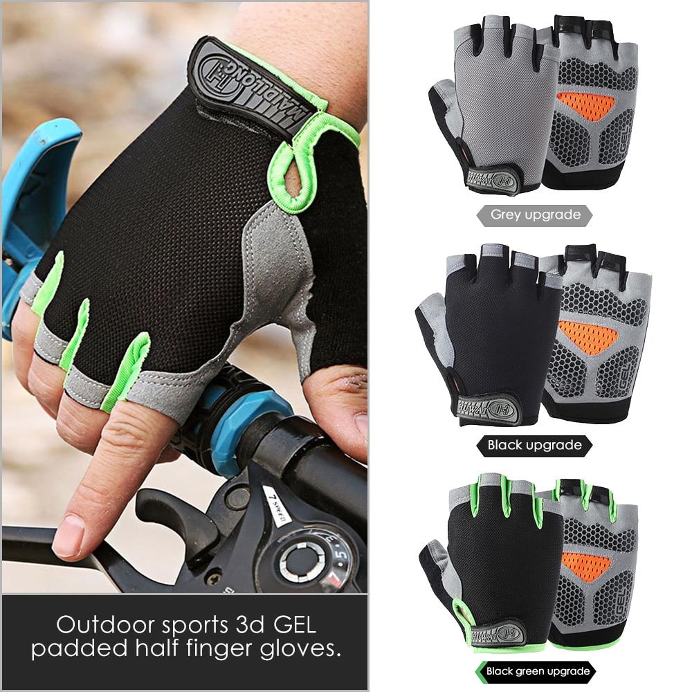Guantes de Ciclismo de silicona Anti-sudor hombres mujeres medio dedo guantes transpirables Anti-deportes de choque guantes de bicicleta