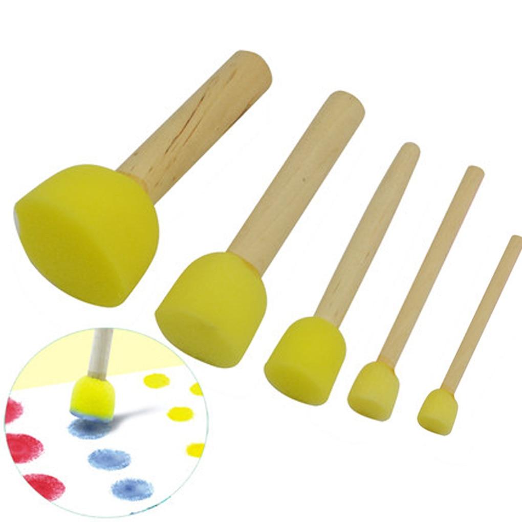 5PCS/Set Yellow Sponge Brush Seal Sponge Paint Brush Original Wooden Handle Children Painting Graffi