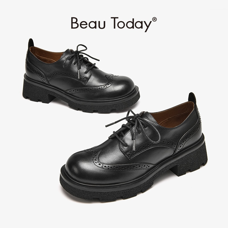 BeauToday حذاء كاجوال المرأة جلد البقر ديربي البروغ جولة تو الصبح الدانتيل يصل إغلاق أحذية منصة السيدات اليدوية 21885