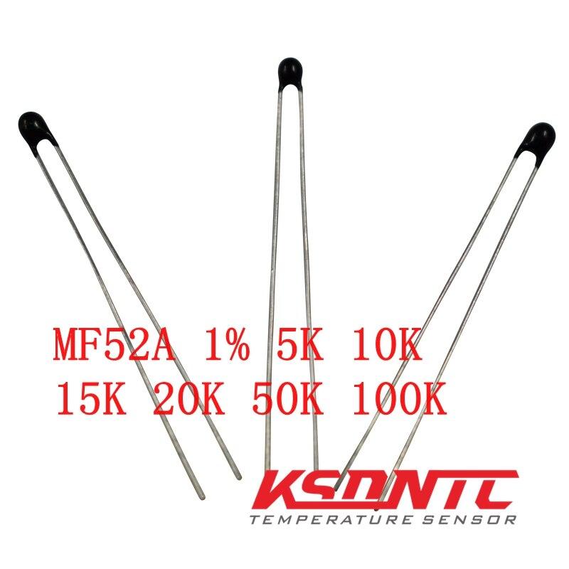 Envío Gratis 20 piezas MF52AT MF52 3950 Termistor NTC resistencia térmica 1% 5K 10K 15K 20K 50K 100K 502, 103, 153, 503, 104 resistencia fusible