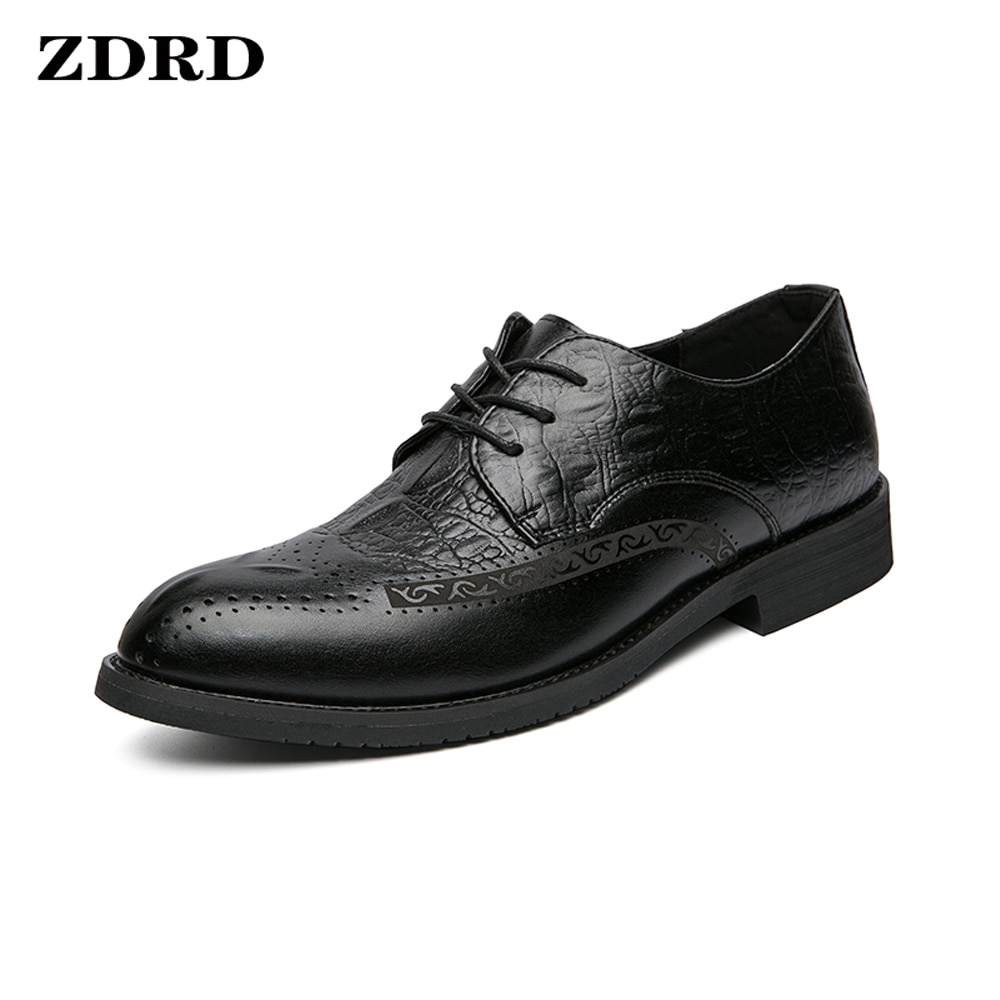 Spring Dress Shoes Men Oxfords Brogue Genuine Leather Shoes Classic Style Wing Tip Lace Up Formal We