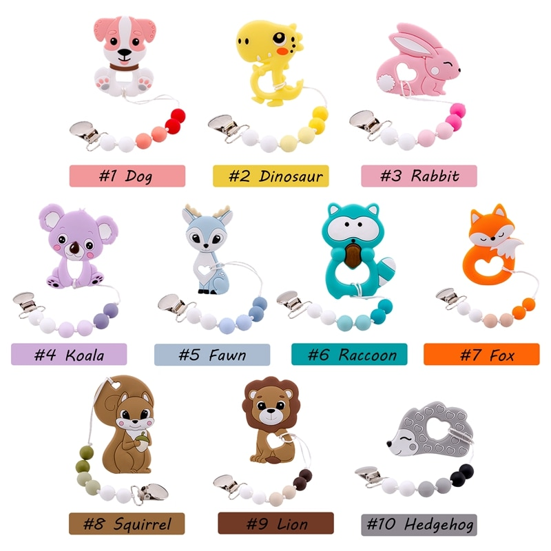 1PC Baby Pacifier Chain Perle Silicone Beads Fox Teether Rodents Teething Nipple Holder Silicone Nur