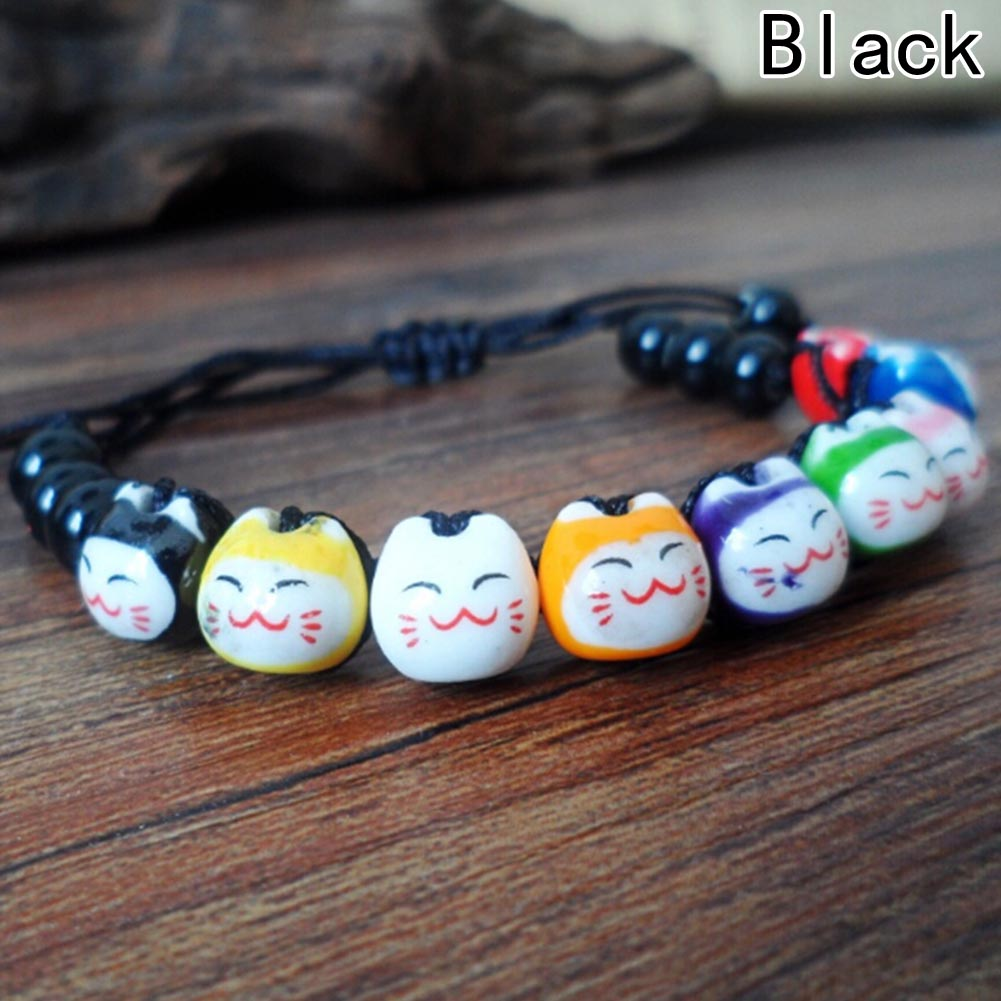 Dia dos namorados japonês novo 9 gato adorável cerâmica sorte gato maneki neko fortuna pulseira charme
