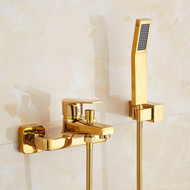 حنفية حمام نحاسية مطلية بالذهب عتيقة مثبتة على الحائط من BAKALA ، حنفيات دش ، دش يدوي ، للحمام