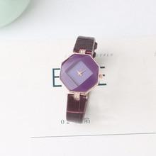 5 colors New Arrival Gem Cut Dress Watch Ladies Quartz Wristwatch Fashion Clock Leather Geometry Cry