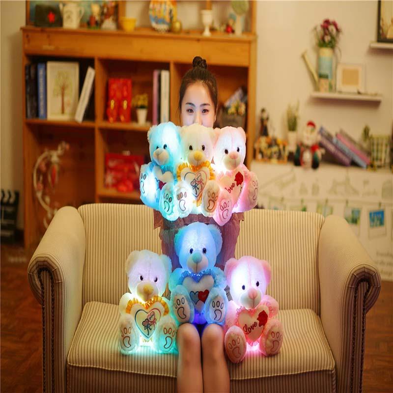 1 unidad de 25/30CM de luz LED oso de peluche de juguete de peluche de colores osos luminosos brillantes muñecas almohada regalos para niños niñas