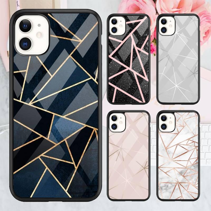 Geometric Marble Texture Phone Case TPU+PC For iPhone X XR XS 11 12 mini Pro MAX 7 8 Plus