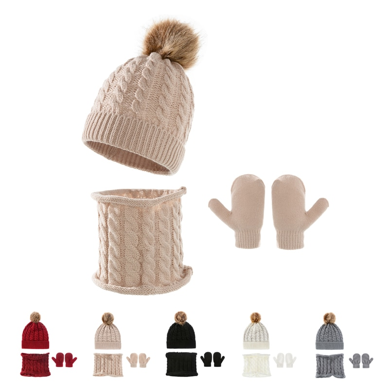 Детская шапка-бини из трех частей, детская шапка, перчатки, шарф, шапка, детская шапка на зиму, сохраняющая тепло акриловая шерстяная шапка о...