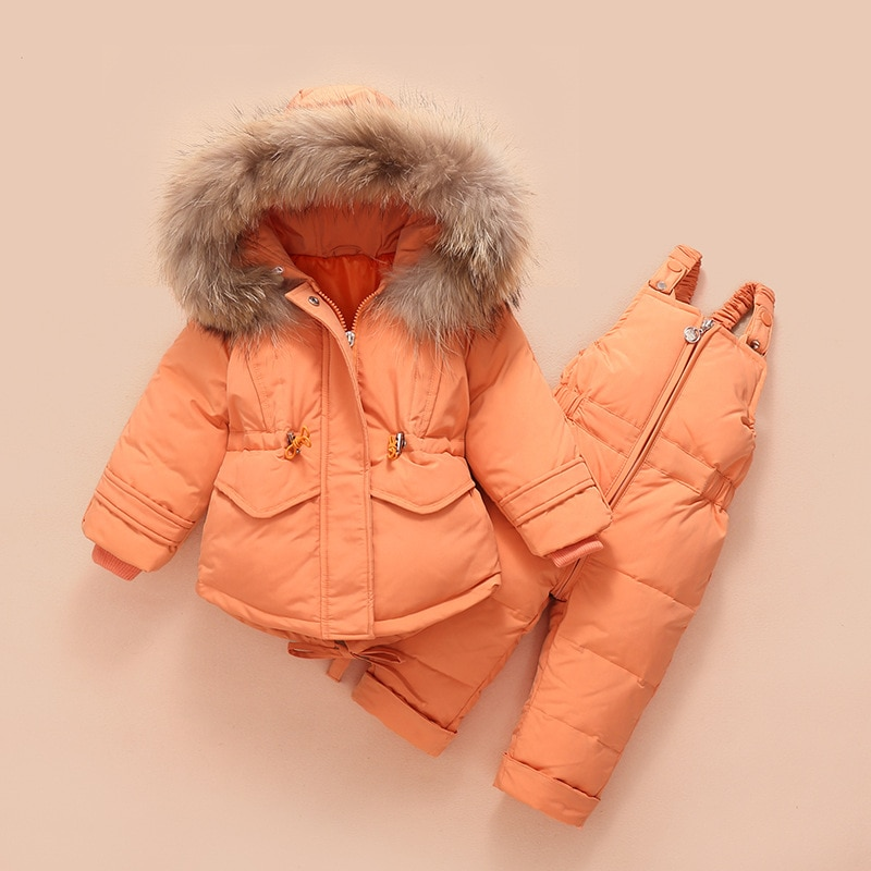 2019 Children's down jacket suit new winter baby suspender trousers male child girl raccoon hair ski suit enlarge