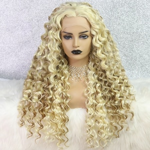 Blonde Wig Kinky Curly Synthetic Lace Front Wig Heat Resistant Highlight Cosplay Wigs For Black Women OLEY Summer Offer