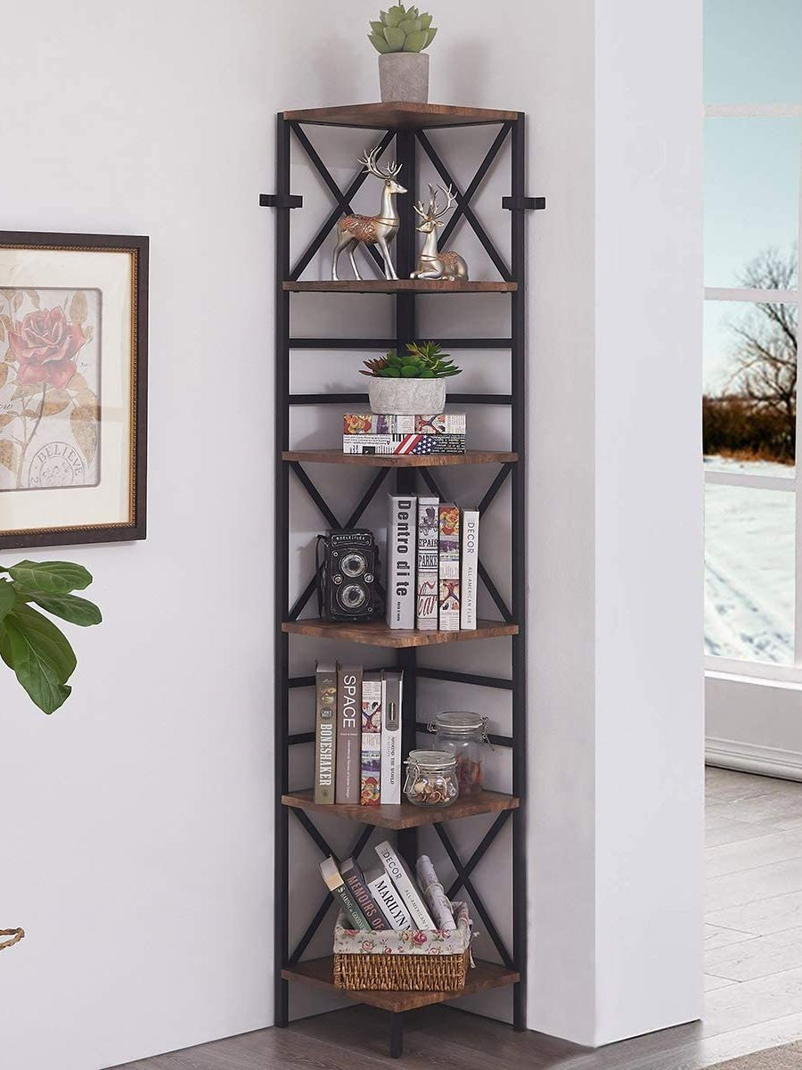 ladder bookcase black small langria 4 tier shelves ladder bookcase storage and display standing shelving unit 34 x30 cm x 148cm 6 Tier Industrial Corner Shelf Unit, Tall Bookcase Storage Display Rack for Home Office, Rustic Brown