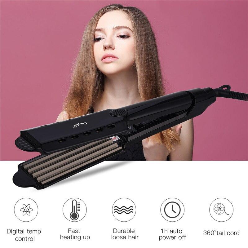 Rizador de pelo de hierro plano profesional, alisador de pelo con Control de temperatura, rizador de pelo de cerámica, rizador de pelo ondulado de hierro corrugado