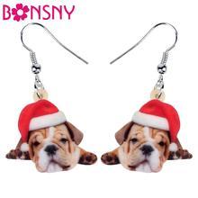 Bonsny Acryl Weihnachten Französisch Bulldogge Mops Hund Ohrringe Tropfen Baumeln Haustiere Geschenk Frauen Mädchen Teens Kinder Festival Charme Dekoration