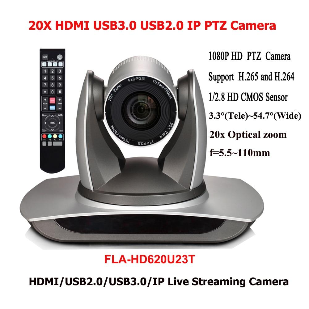 2MP 1080P60 20x Zoom Digital Video Conference USB2.0 USB 3.0 PTZ IP Camera HDMI Output