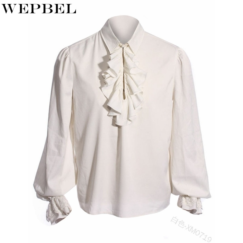 WEPBEL Lantern Sleeve Shirt Men's Casual Solid Color Ruffles Stitching Shirt Spring Autumn Turn-down Collar Loose Shirt