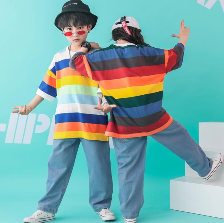 Niños Arco Iris rayas camiseta Top de manga corta y Hip Hop Denim Pantalones vaqueros ropa de baile para niñas niños conjunto 4-16 Y