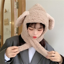 INS Korean Bunny Ears Plush Bonnet Women's Scarf Integrated Student Earmuffs Hat Thickened Thermal L