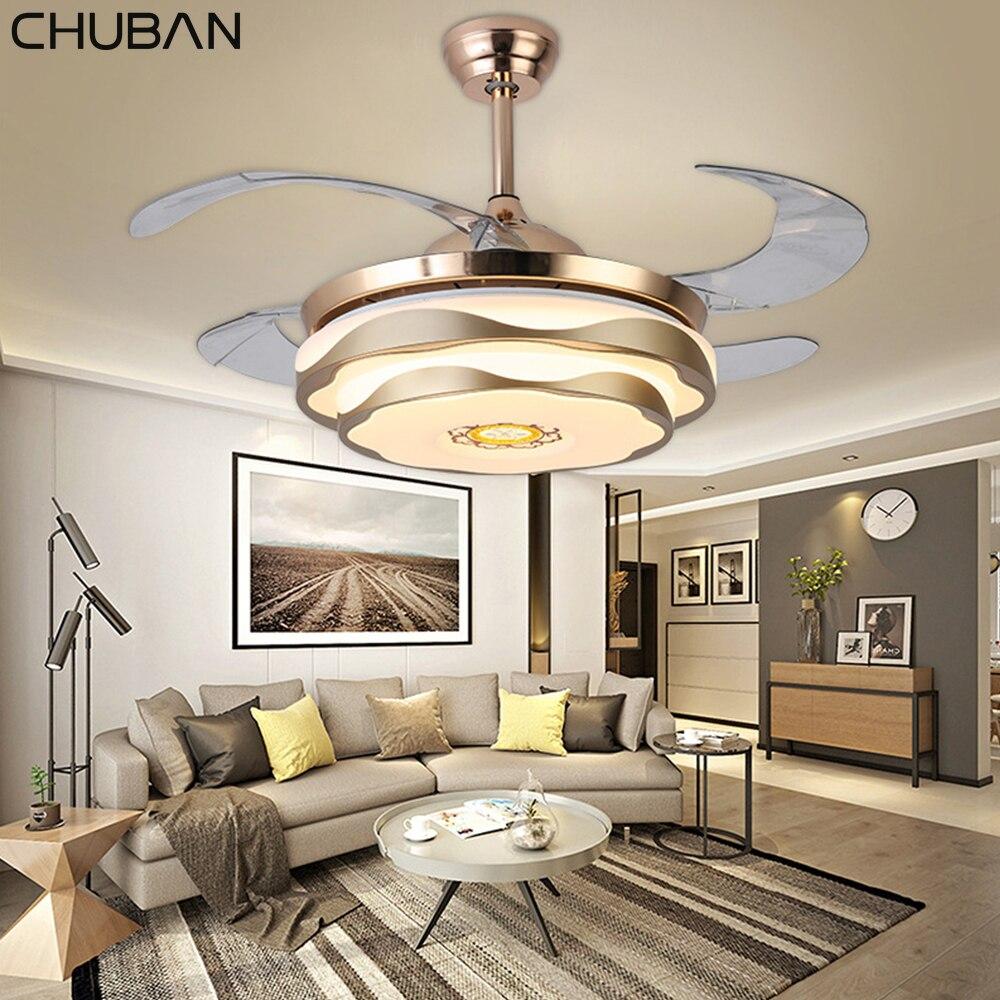 Ventilateur de plafond moderne musique lumière led avec télécommande téléphone mobile APP Bluetooth ventilateurs de plafond 42