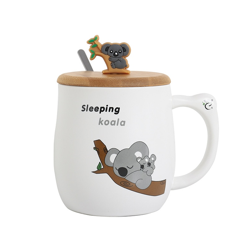 Divertida taza de koala de dibujos animados con tapa jarras de animales de gran capacidad vasos creativos tazas de café té regalos novedosos taza de leche