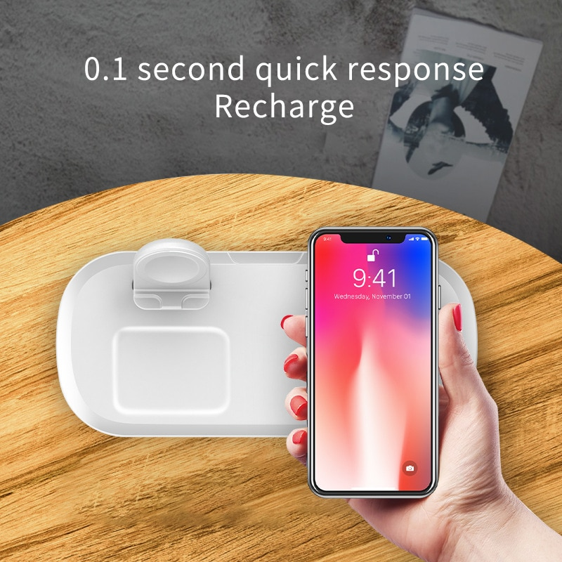 3 in 1 Qi Wireless Charger 15W Wireless Charging for iPhone 12 11 Pro Max X XS Max 8 for iWatch 6 5 4 3 2 AirPods Pro Pad Holder