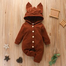 2020 Autumn Winter Newborn Baby Long Sleeve Rabbit Ears Jumpsuit Cute Hooded Solid Color Jumpsuit fo