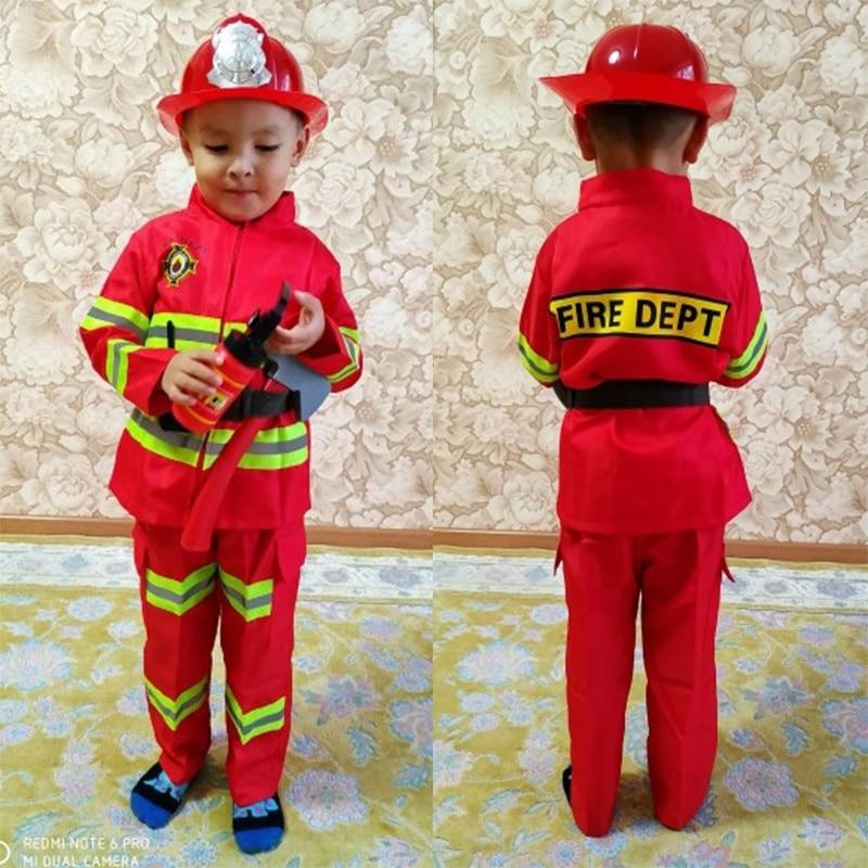 Cosplay de Halloween, uniforme de bombero para niños, traje de trabajo de bombero Sam, ropa de juego de rol para chico y Chica, trajes de fiesta de actuación
