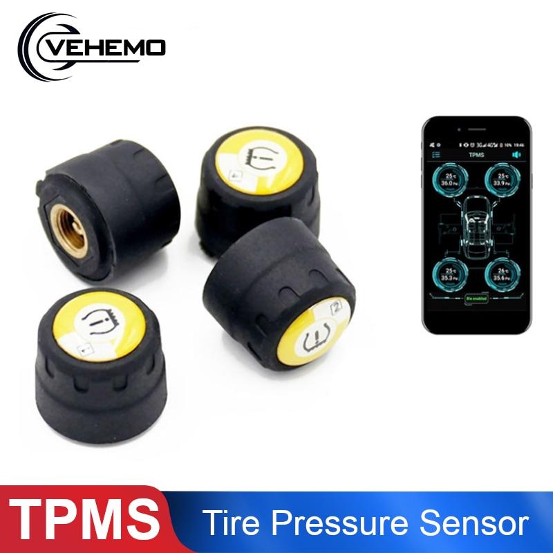 Coche inalámbrico TPMS 4 sensores externos estable Bluetooth Detector de presión de neumáticos Universal Teléfono Móvil APP detección accesorios de coche