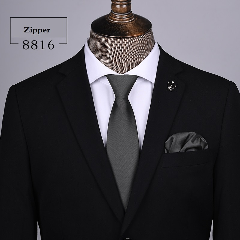 2020 Designer New Fashion 8cm Ties for Zipper Solid Color Neckties Wedding Formal Suit Business Work Accessories with Gift Box