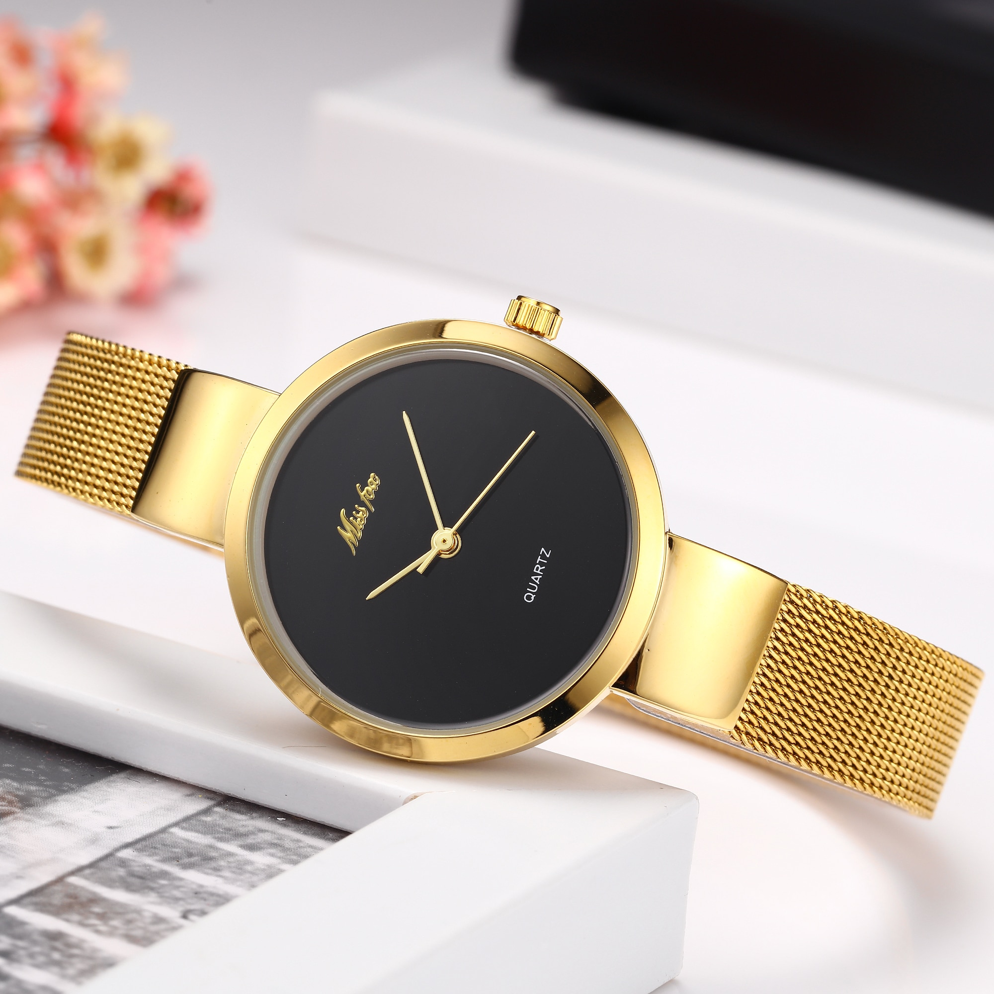 Japan Quartz Movement High Quality MISSFOX Women Watches Stainless Steel Mesh Gold Waterproof Ladies jewelry Watch Dropshipping enlarge