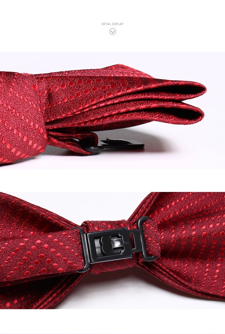 2020 Brand New Fashion Men's Bow Ties Double Fabric Dot Wine Red Bowtie Banquet Ceremony Wedding Butterfly Tie with Gift Box