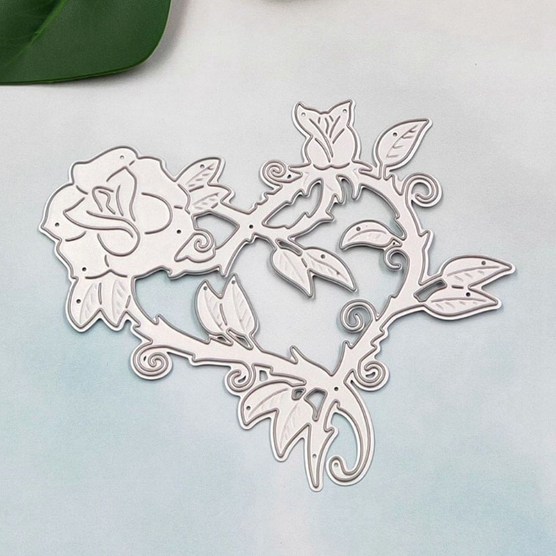 Heart Rose Shaped Cutting Dies Carbon Steel Frames DIY Scrap Booking Photo Album Embossing Paper Cards