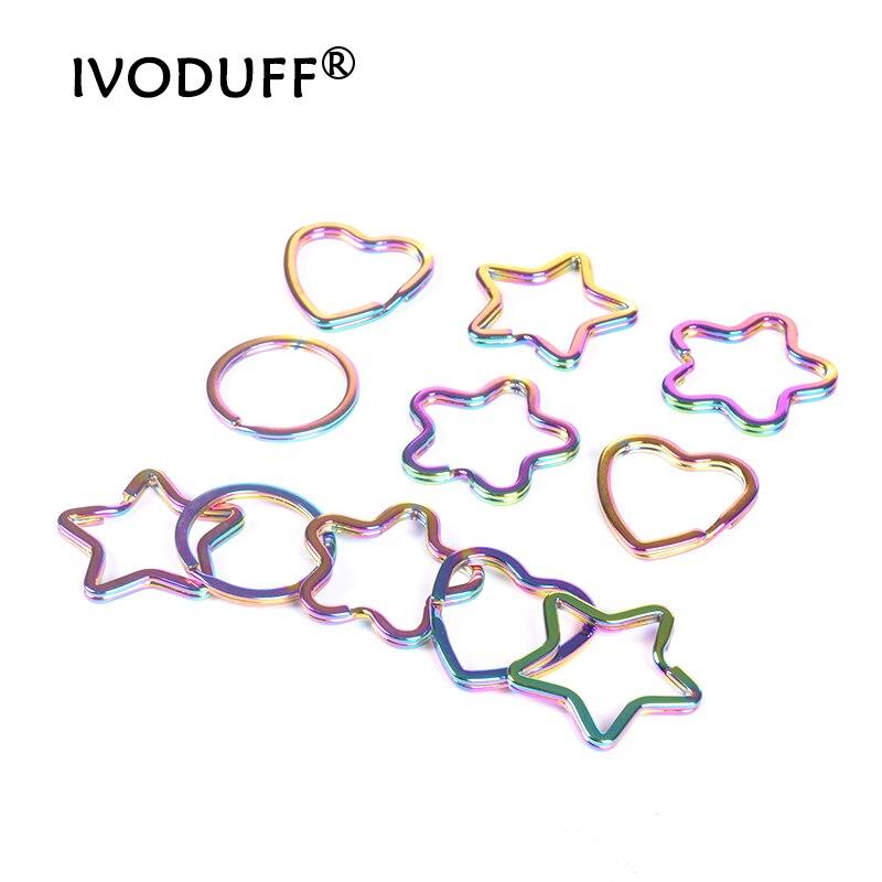 Mix 10pc Rainbow Split Ring Heart Star Apple Keychains Metal Key Chain Ring Split Rings Unisex Keyring Keyfob Accessories DIY
