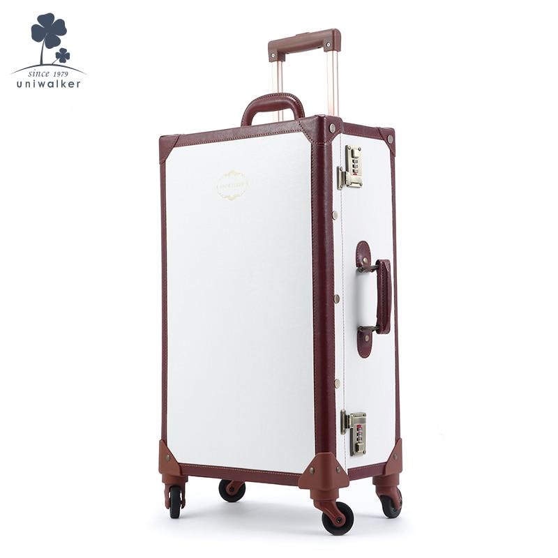 UNIWALKER Vintage Travel Suitcase Trunk Luggage Trolley 4 Wheels Ivory Number Lock 20inch-26inch