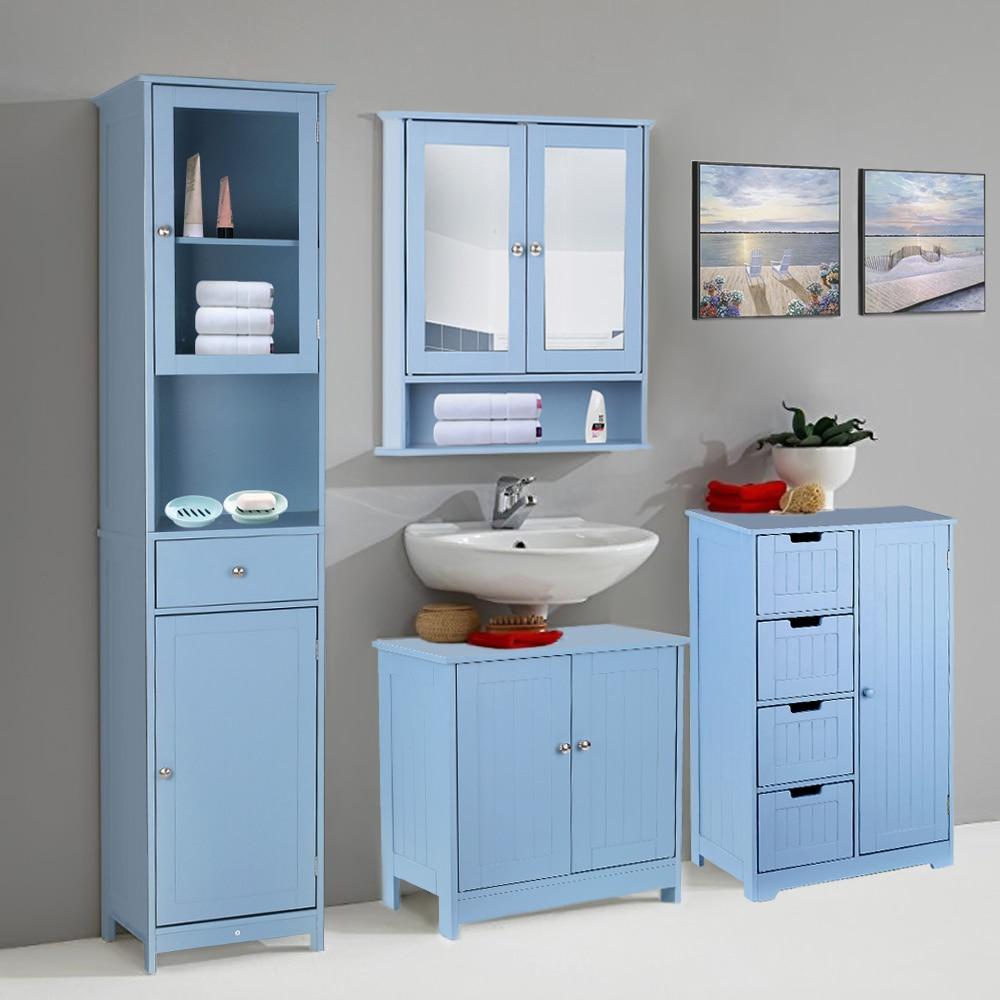 IKayaa armoire de salle de bain armoire de toilette salle de bain placard rangement organisateur armoires vanité coiffeuse meubles de salle de bain
