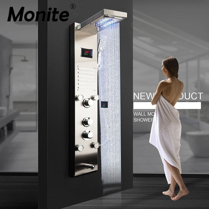 Monite-لوحة دش من النيكل مع شاشة رقمية ، عمود LED ، تأثير المطر ، شلال ، نفاثات سبا ، صنبور خلاط دش رمادي غامق