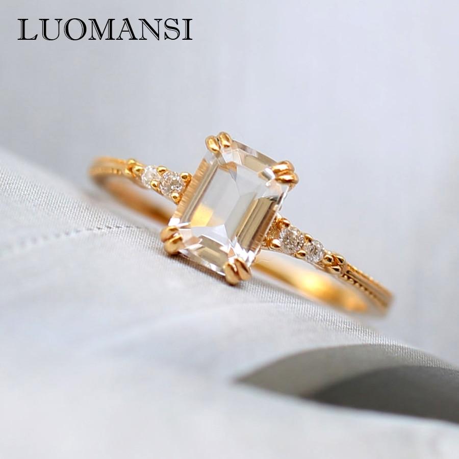 Luomansi-خاتم مربع من الكريستال الطبيعي الفضي S925 ، للنساء ، لحفلات الزفاف ، سوبر فلاش ، مجوهرات بالجملة