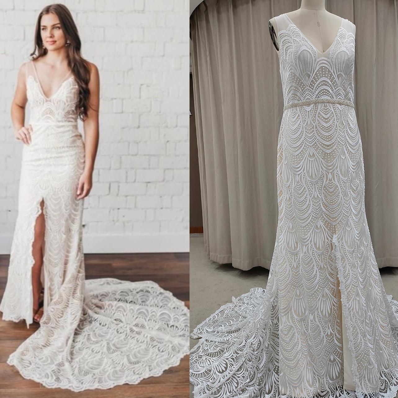 Promo Outdoor Boho Lace V Neck Wedding Dress Sleeveless 2021 Backless Low Slit Custom Made Plus Size Beading Sash Bridal Gown 10079