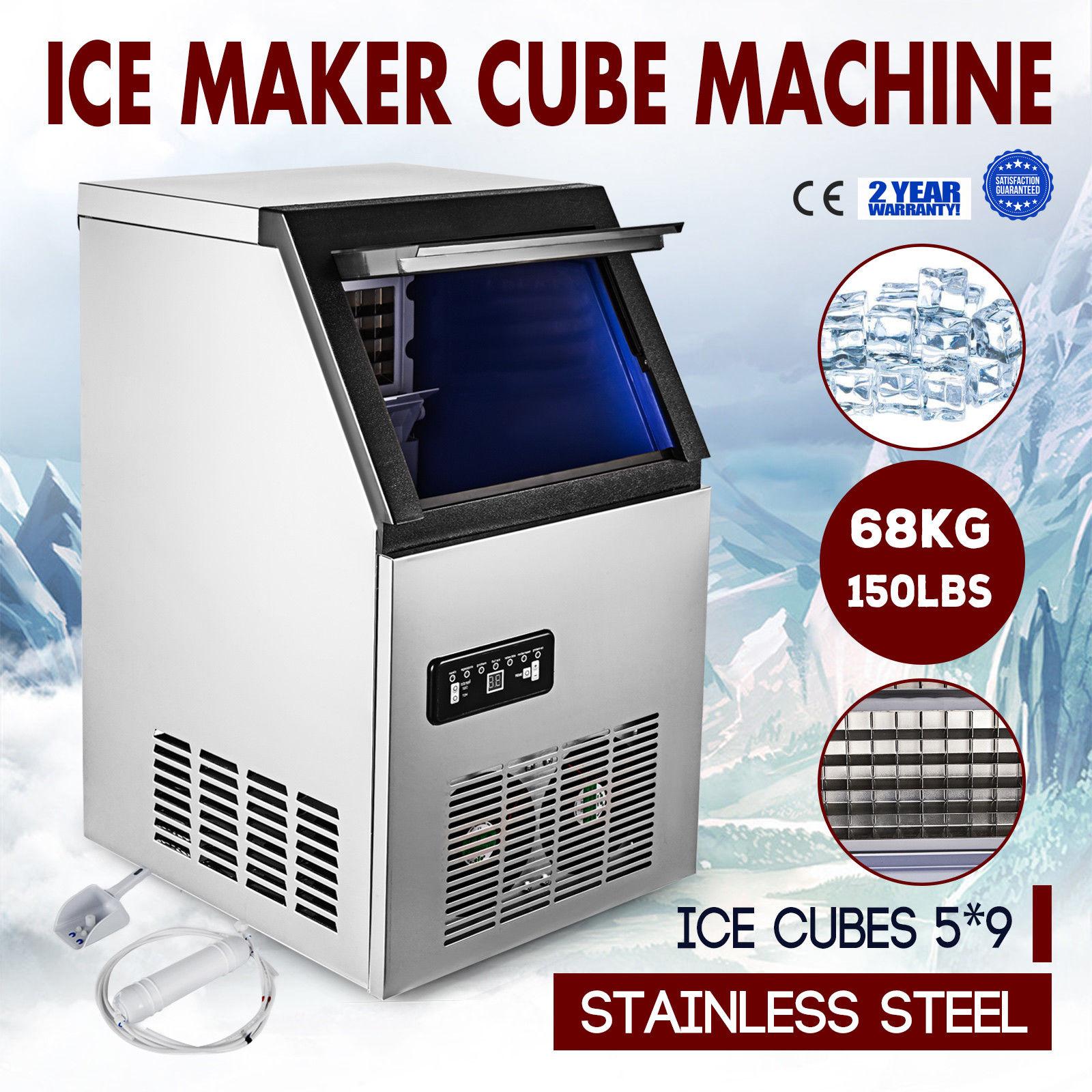 الفولاذ المقاوم للصدأ التجارية وندركونتر 150LBs ماكينة صنع الثلج تبريد الهواء مكعب آمنة وصديقة للبيئة