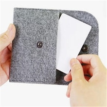 Thin Wallet Slim Money Holder Square Felt Coin Purse Credit Card Holder ID Business Mens Genuine Fel