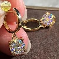 18k au750 yellow gold 2 carat drop clip earrings women present wedding anniversary engagement party round dvvs moissanite d