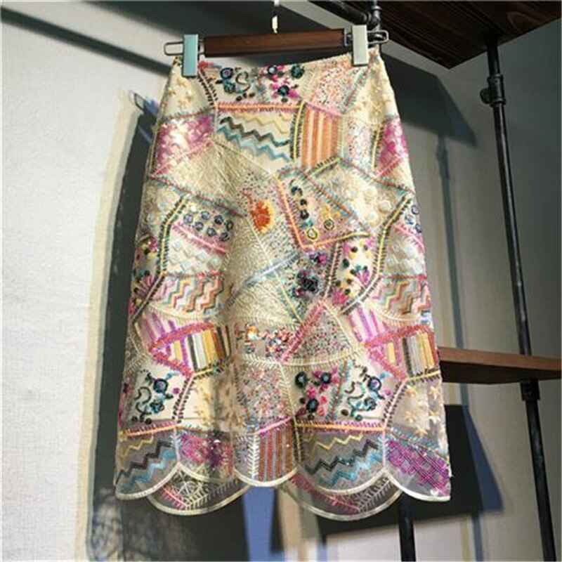 Primavera lantejoulas saias de malha das mulheres coreano senhora do escritório magro bodycon lápis saia cintura alta elegante renda midi saia feminina