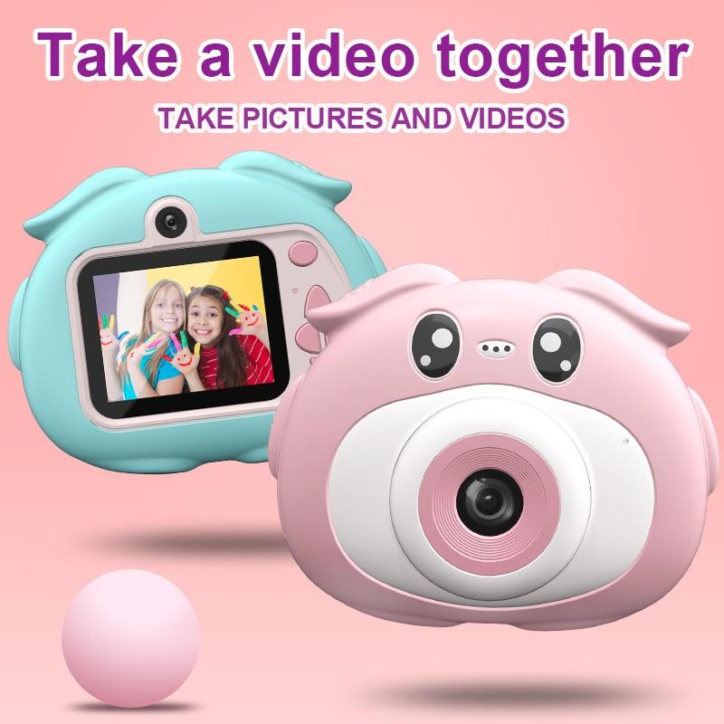 Mini Children's Camera Digital Camera 2.0'' Cute Cartoon Piggy Video Camera with Puzzle Games Camera for Kids Birthday Gift