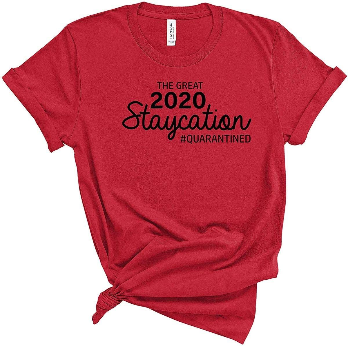 LifeWheel Novelty Shirt The Great 2020 Staycation Social Distance Expert Funny t Shirt Social Distancing Humor Unisex Summer Tee