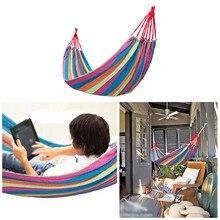 Hamac de jardin individuel Portable hamac Sport maison voyage en plein air Camping balançoire chaise suspendue épaisse toile rayure lit hamac